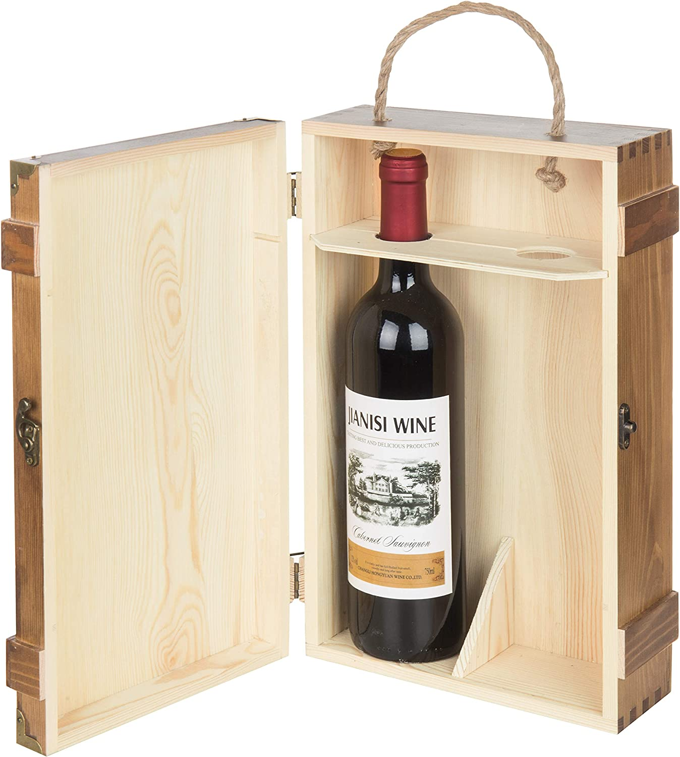 MyGift Whitewashed Wood Wine Gift Box /& Carrying Case with Chalkboard Label