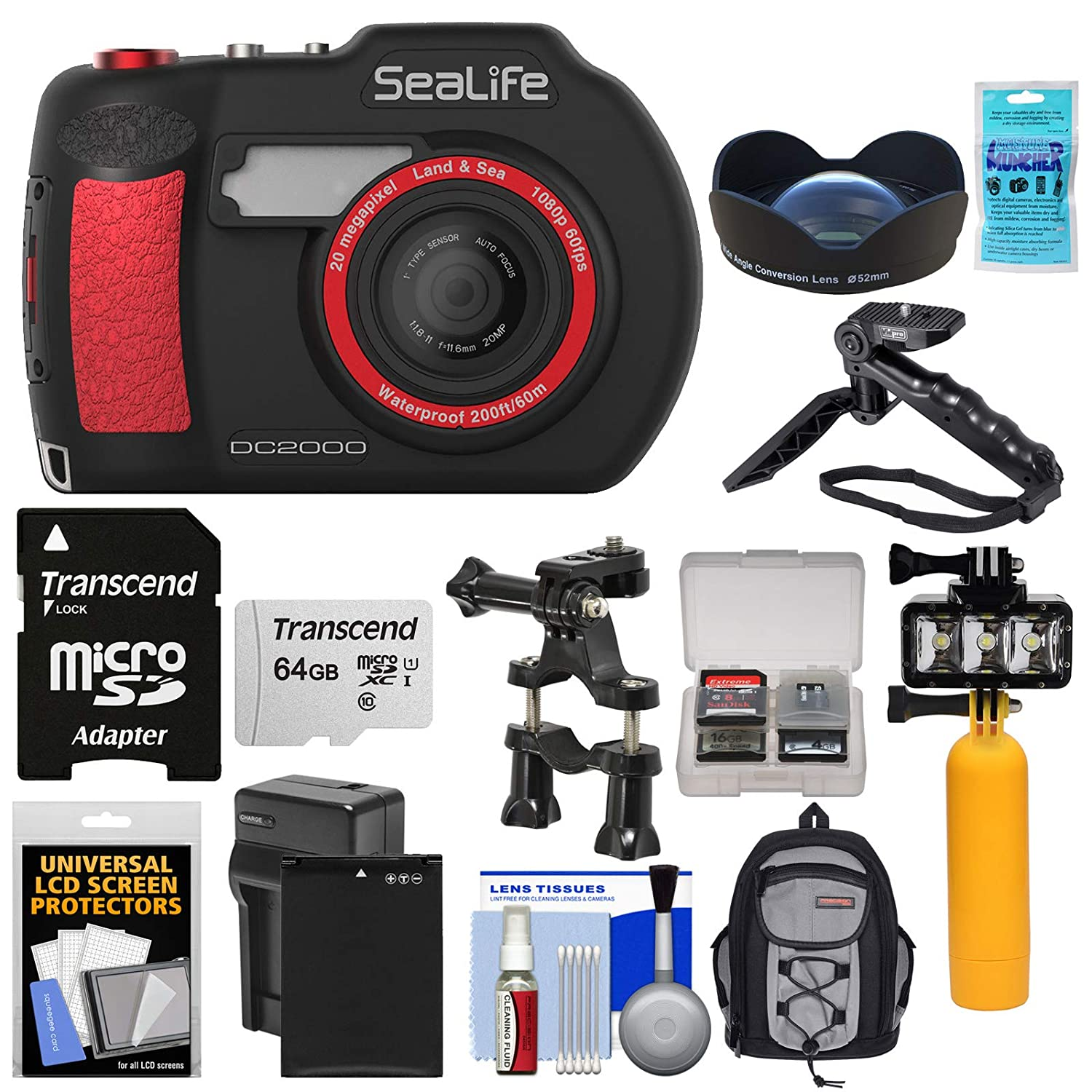 Amazon SeaLife DC2000 HD Underwater Digital Camera with Wide Angle Lens 64GB Card Backpack Video Light Buoy Handle Battery Kit Camera &