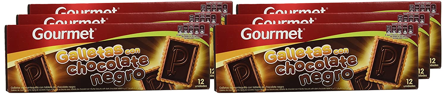 Gourmet - Galletas con chocolate negro - - 150 g -, Pack de 6: Amazon.es: Alimentación y bebidas