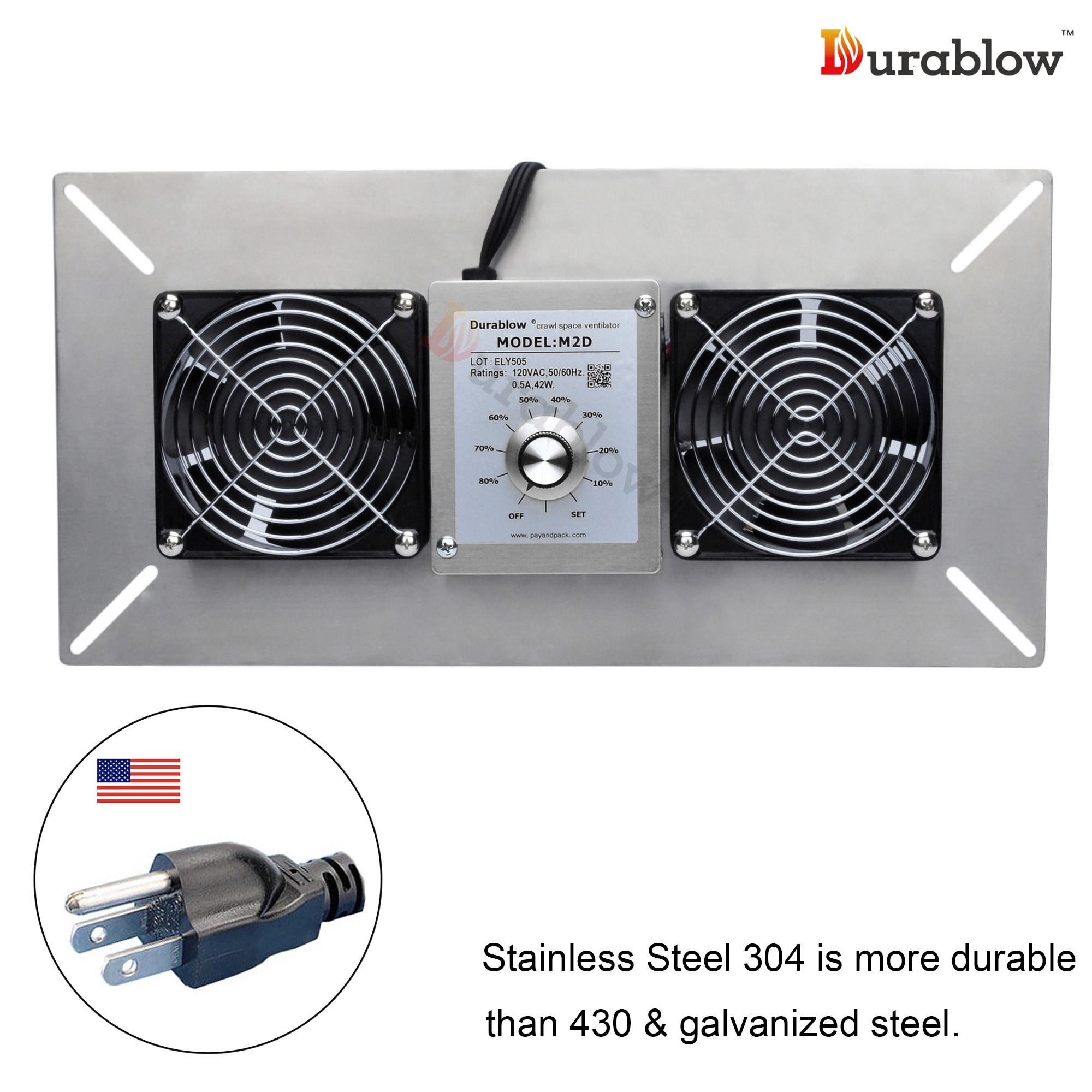 Durablow Stainless Steel Crawl Space Foundation Dual Fans Ventilator + Built-in Dehumidistat (Stainless Steel 304, M2D)