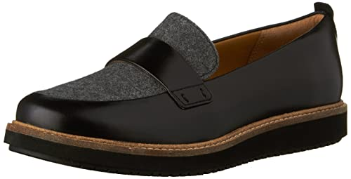 Clarks Women's Glick Avalee Grey Textile/Black Leather Combo Loafer 6 B ...