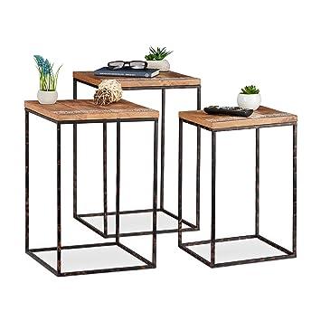 Relaxdays Beistelltisch 3er Set Mangoholz Metall Stilmix Wohnzimmer Satztische In Versch Grossen Braun Schwarz Holz H X B X T Ca 55 5 X