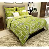 Home Candy 144 TC 100% Cotton Attractive Green Flowers Double Bed Sheet with 2 Pillow Covers