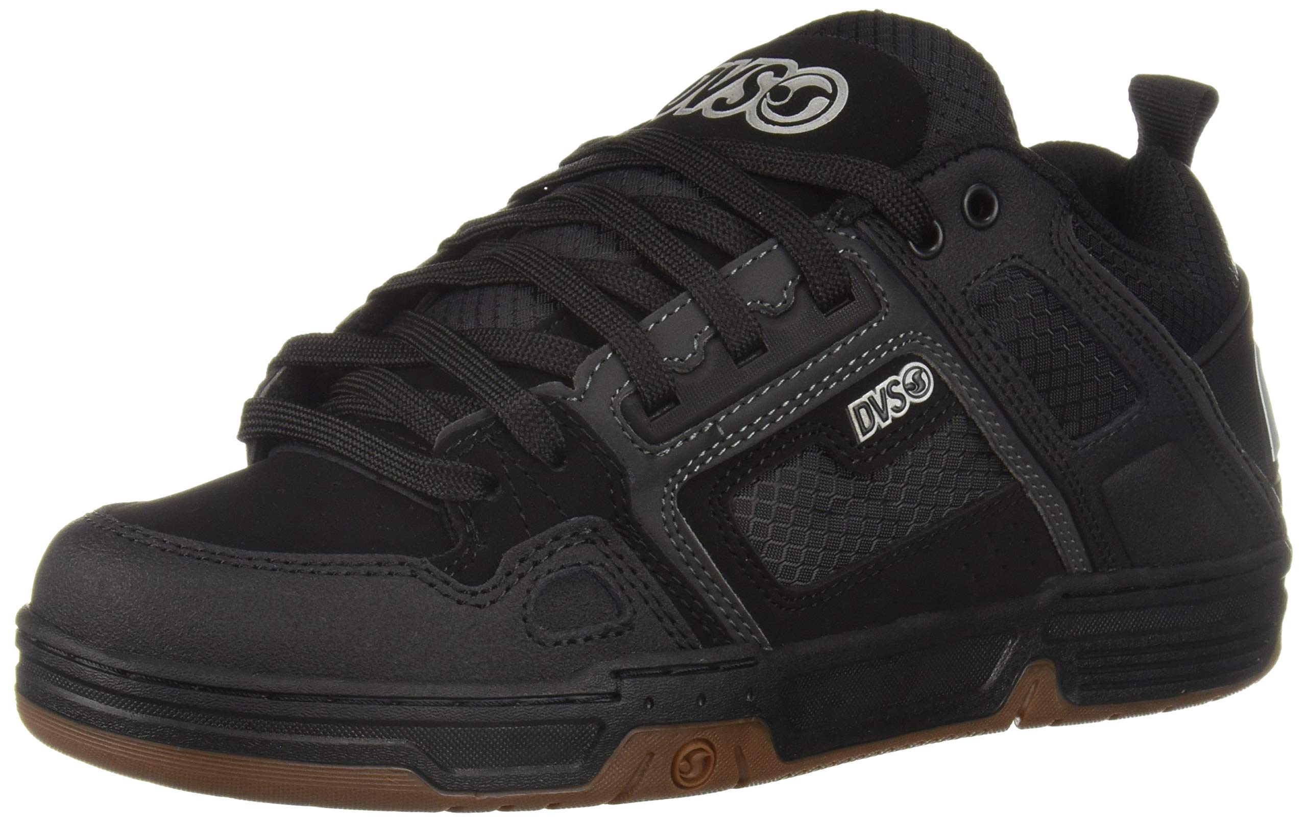 DVS Men's Comanche Skate Shoe Black/White Gum Nubuck 10 Medium US