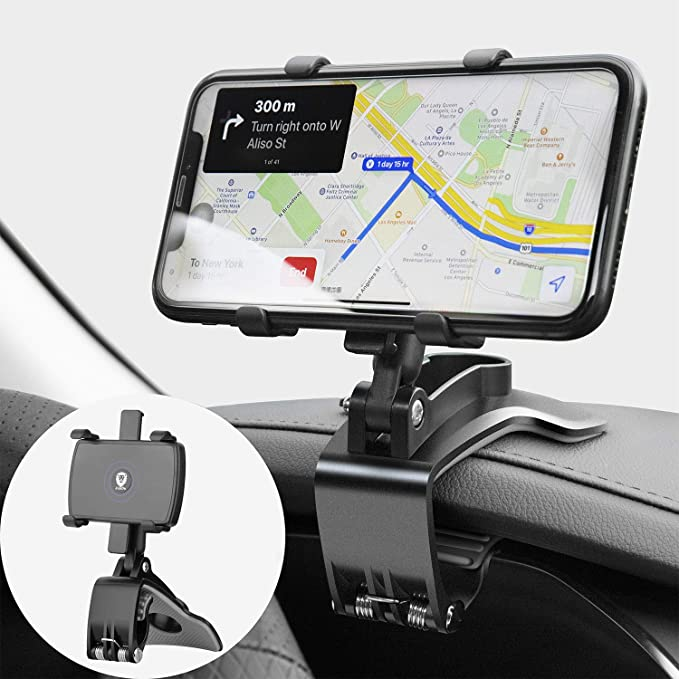Car Phone Mount 360 Degree Rotation Dashboard Phone Holder for Car Cell Phone Clip for Car Mount Stand Suitable for 4 to 7 inch Smartphones
