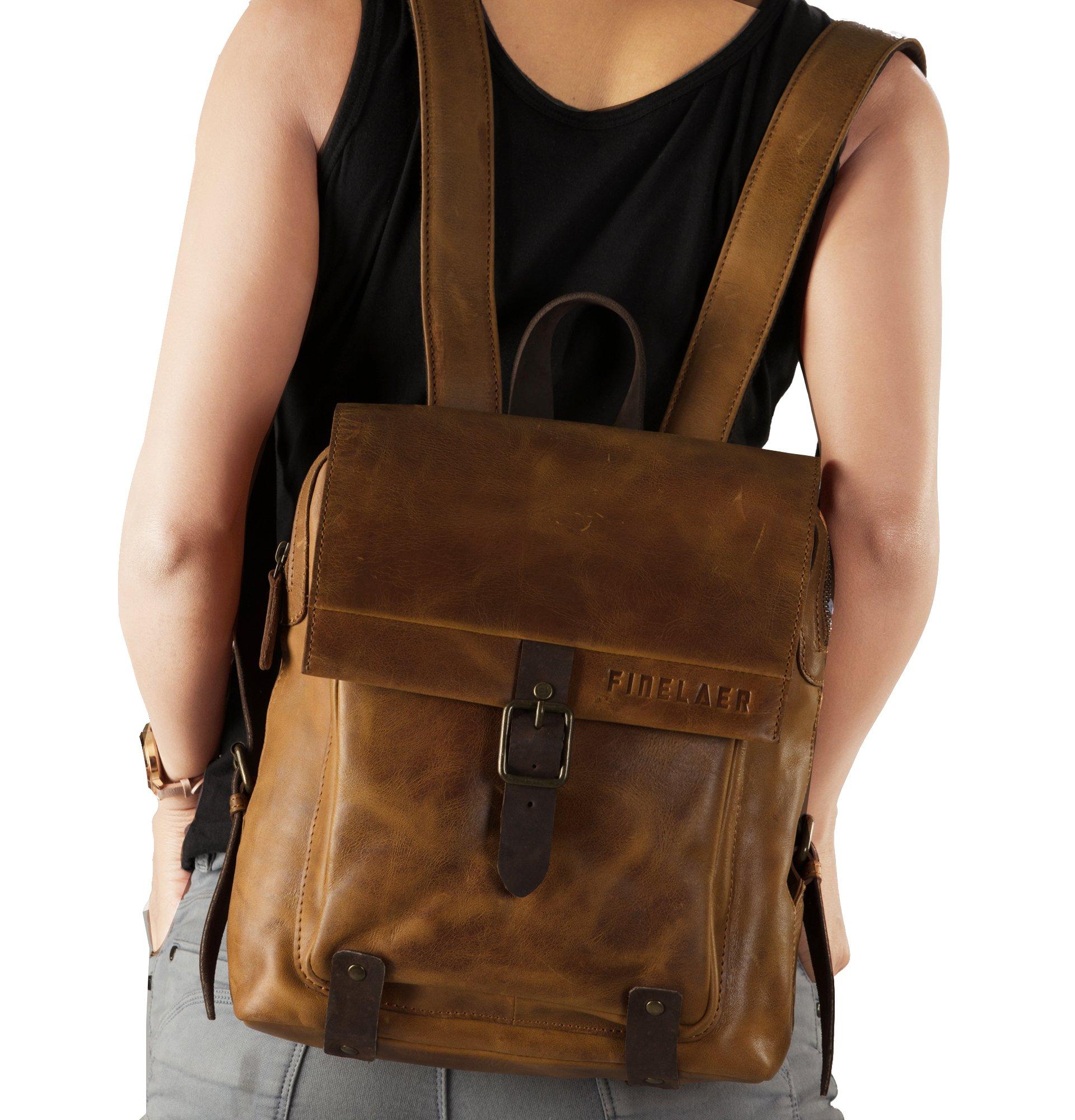 Finelaer Vintage Genuine Leather Backpack DayPack Travel College Bag Brown Men Women by FINELAER (Image #5)
