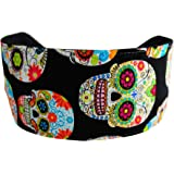 Day of the Dead Soft Wide Headband, Multicolor Sugar Skulls and Flowers Headwrap