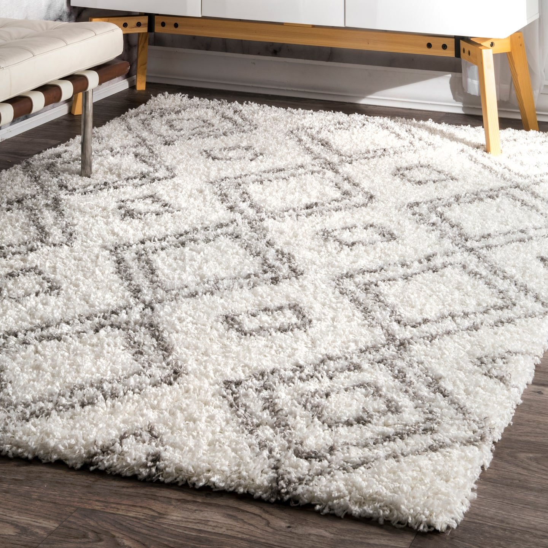 nuLOOM 8' x 10'Cozy Soft and Plush Moroccan Trellis Iola Easy Shag Indoor Area Rug, White