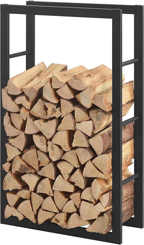 Legnaia Deposito per Legna da Ardere 50 x 150 x 25 cm Portalegna Telaio in Acciaio en.casa