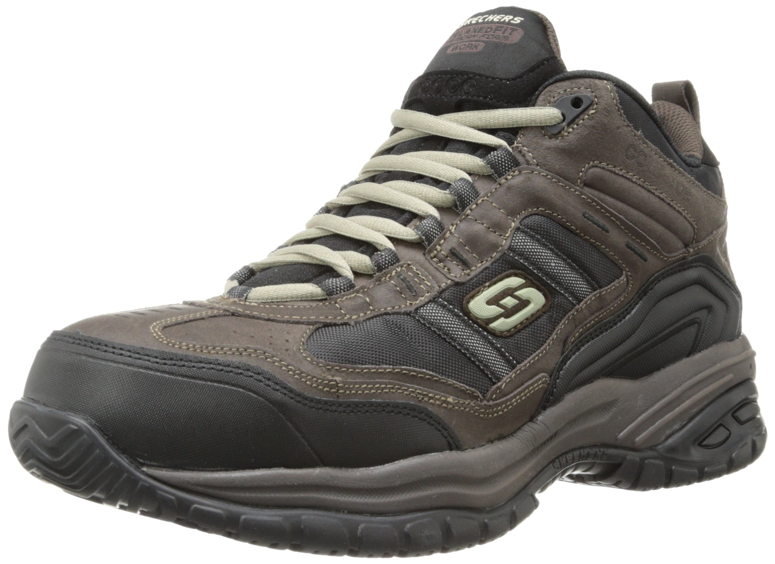 Skechers Men's Work Relaxed Fit Soft Stride Canopy Comp Toe Shoe, Brown/Black - 9 3E US by Skechers