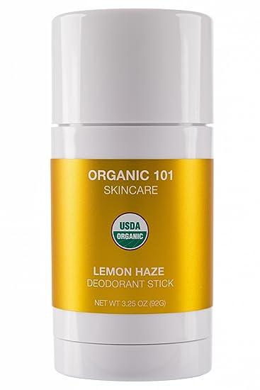 ORGANIC 101 Lemon Haze USDA Certified, All Natural, Extra-Strength  Deodorant No Aluminum,