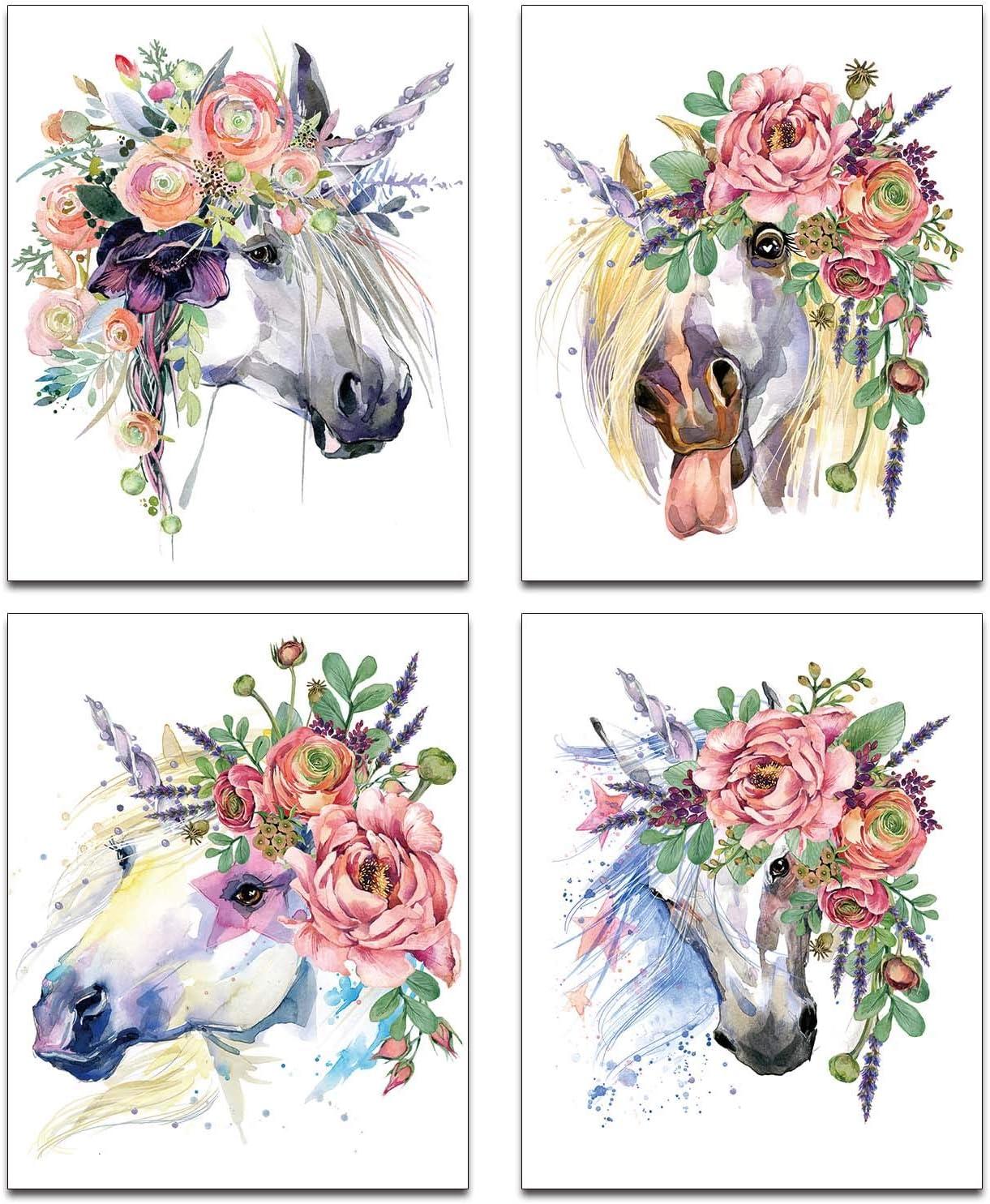 "Modern Abstract Art Watercolor Splash Cute Unicorn Horse Poster Prints Set of 4 (8""X10"" Canvas Picture) Children Kindergarten Boy Girl Wall Decor Art Painting Teens Bedroom Home Decor Unframed"