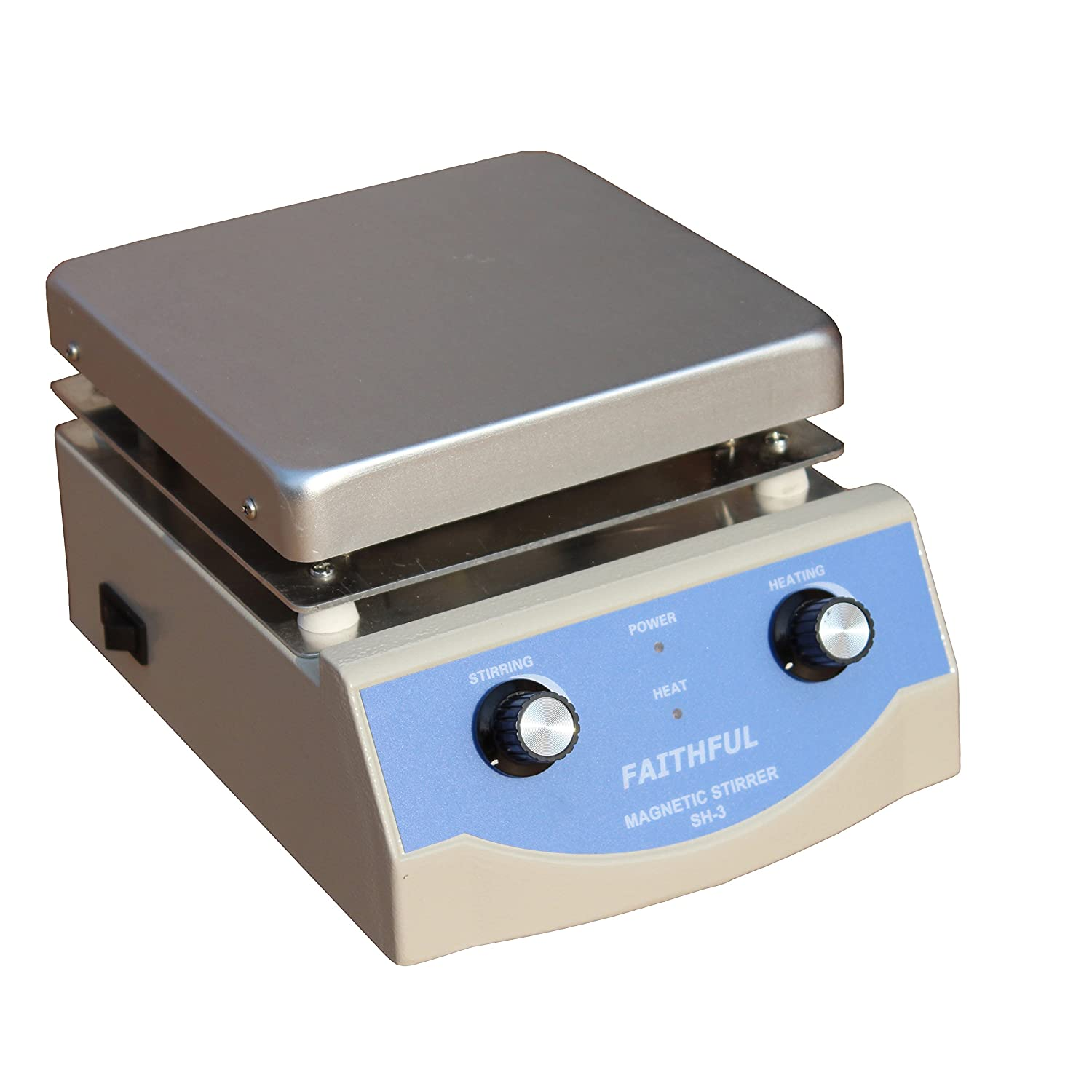 Laboratory Magnetic Stirrer With Heating, 17x17cm Aluminium Panel, 0~1600RPM, 5L Volume, With Magnetic Stir Bar And Pole SH-3