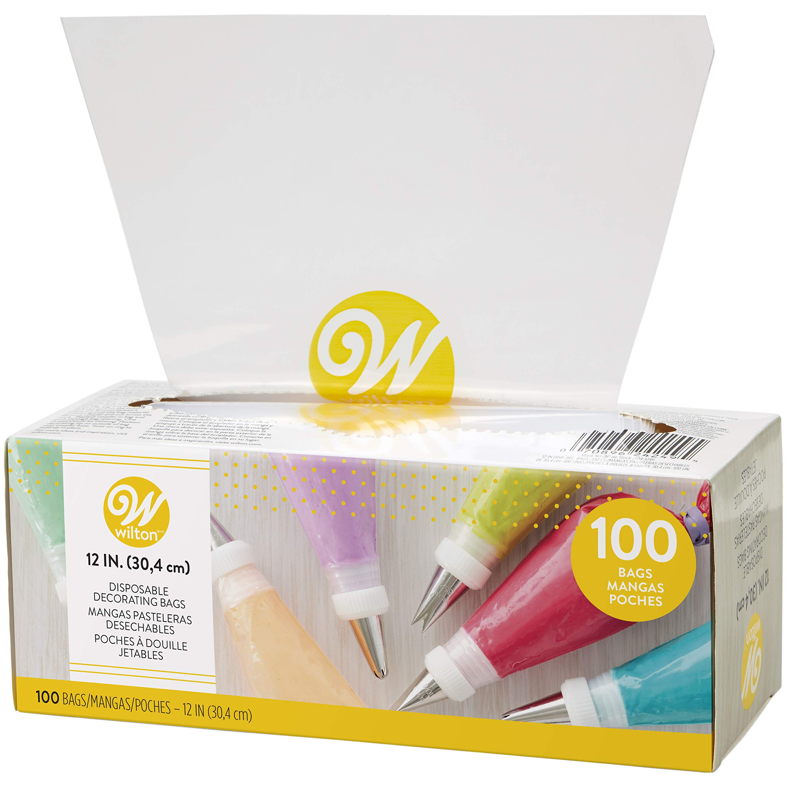 Wilton 12-Inch Disposable Cake Decorating and Pastry Bags, 100-Count by Wilton