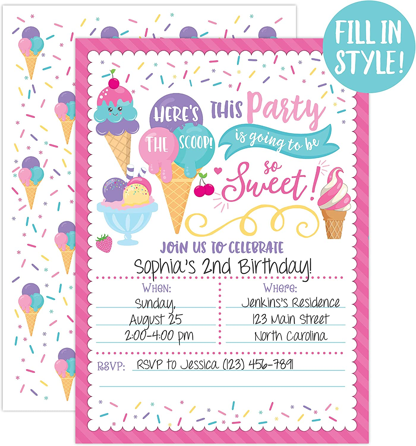 How To Invite Your Account To Your Party Fortnite Amazon Com Ice Cream Birthday Party Invitations Girl Birthday Invitations Here S The Scoop Ice Cream Social 20 Fill In Invitations And Envelopes Health Personal Care