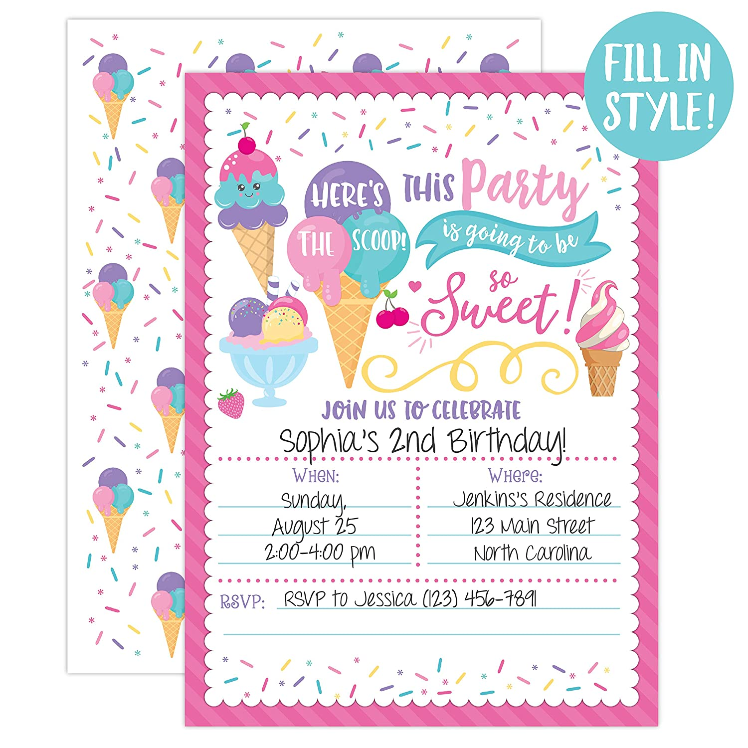 Amazon Ice Cream Birthday Party Invitations Girl Heres The Scoop Social 20 Fill In And Envelopes