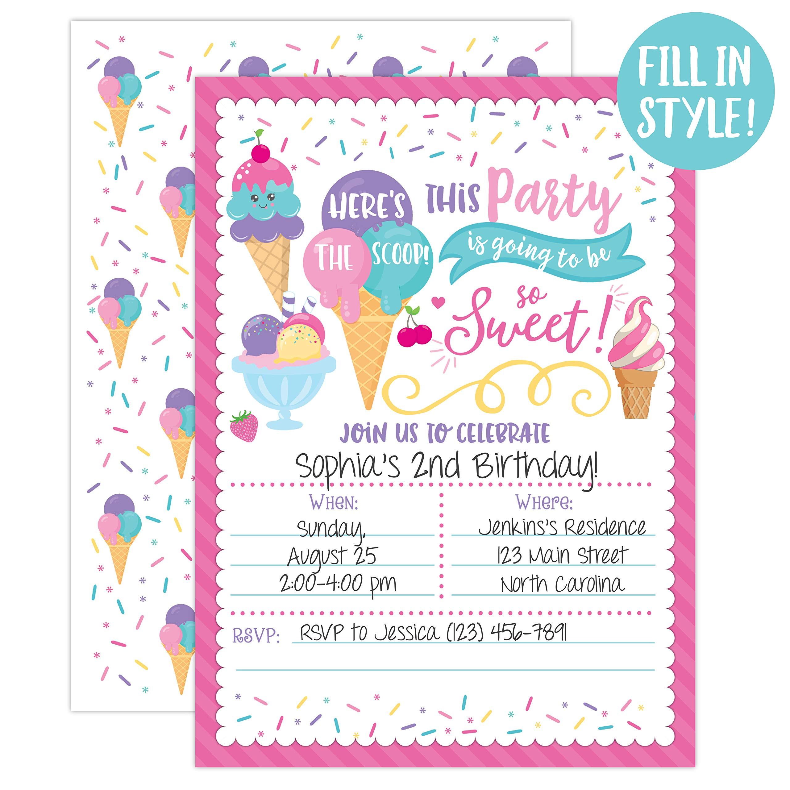Ice Cream Birthday Party Invitations, Girl Birthday Invitations, Here's The Scoop, Ice Cream Social, 20 Fill in Invitations and Envelopes by Your Main Event Prints (Image #1)