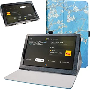 "Bige for Lenovo Yoga Smart Tab YT-X705F Case,PU Leather Folio 2-Folding Stand Cover for 10.1"" Lenovo Yoga Smart Tab YT-X705F Tablet(2019),Almond Blossom"