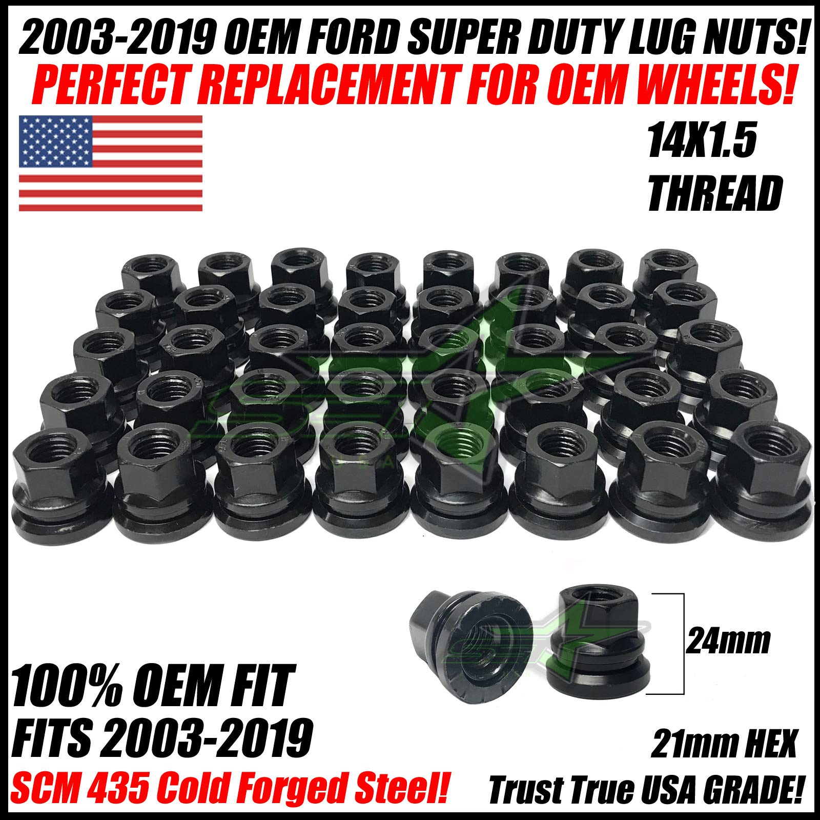 SET Group USA 32Pc Factory OEM Lug Nuts 14x1.5 Compatible with Ford F-250 F-350 Excursion Super Duty 2003-2019
