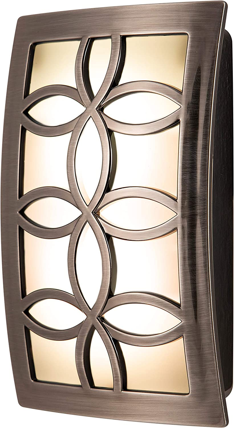 GE LED CoverLite Night Light, Plug-In, Soft White Light, Light Sensing, Auto On/Off, Ideal for Entryway, Hallway, Kitchen, Bathroom, Bedroom, Stairway, Office, & More, Brushed Nickel Finish, 11257