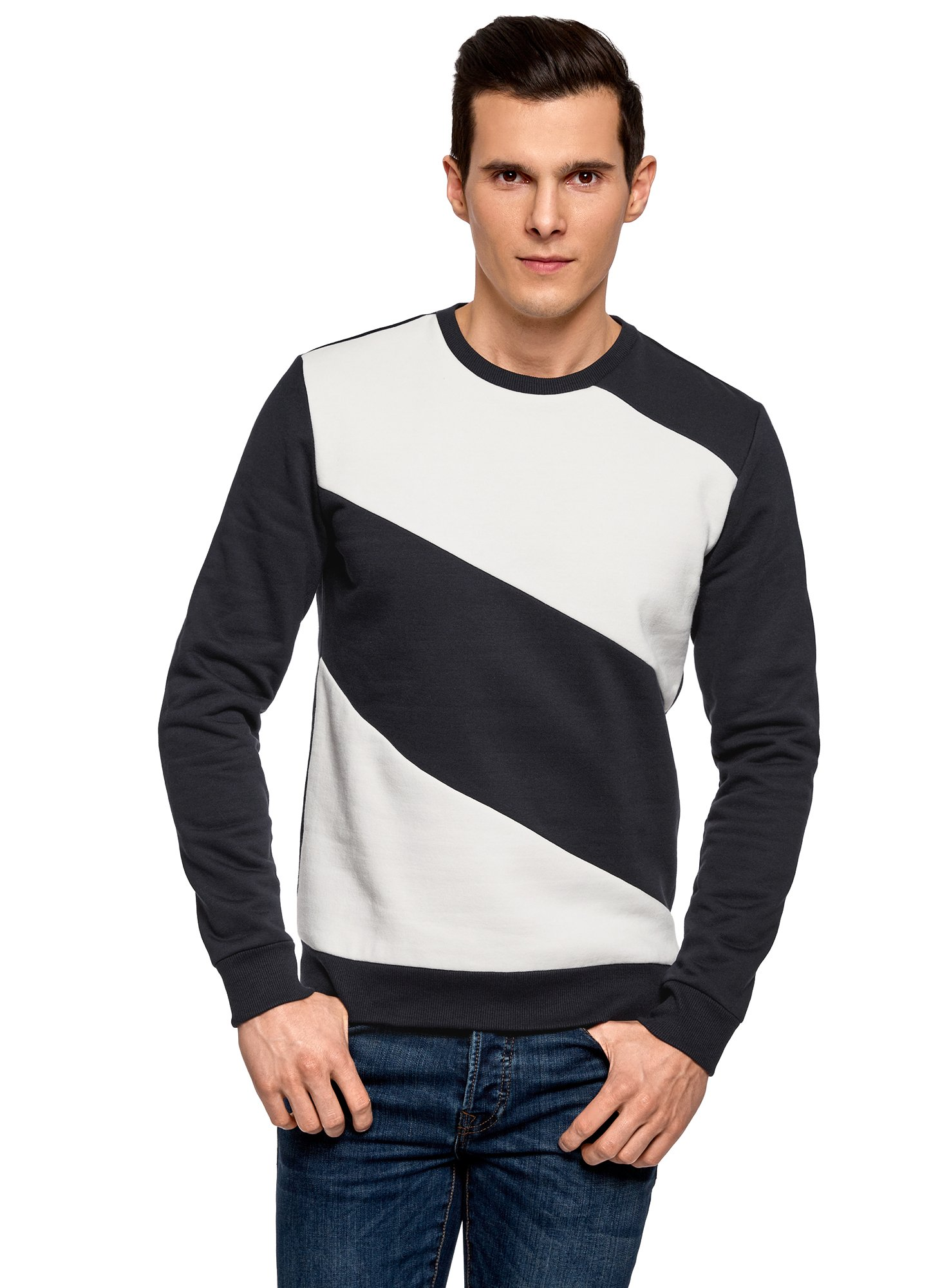 oodji Ultra Men's Round Neck Sweatshirt with Contrast Details, Blue, US 46/EU 56/XL