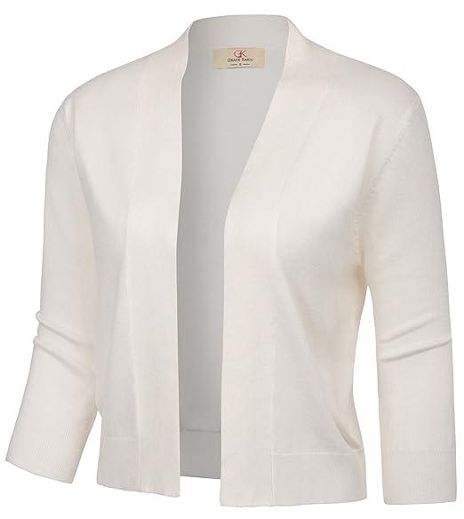 7e286f6b102fd GRACE KARIN Women s Knit Cardigan Christmas Sweaters 3 4 Sleeve Open ...