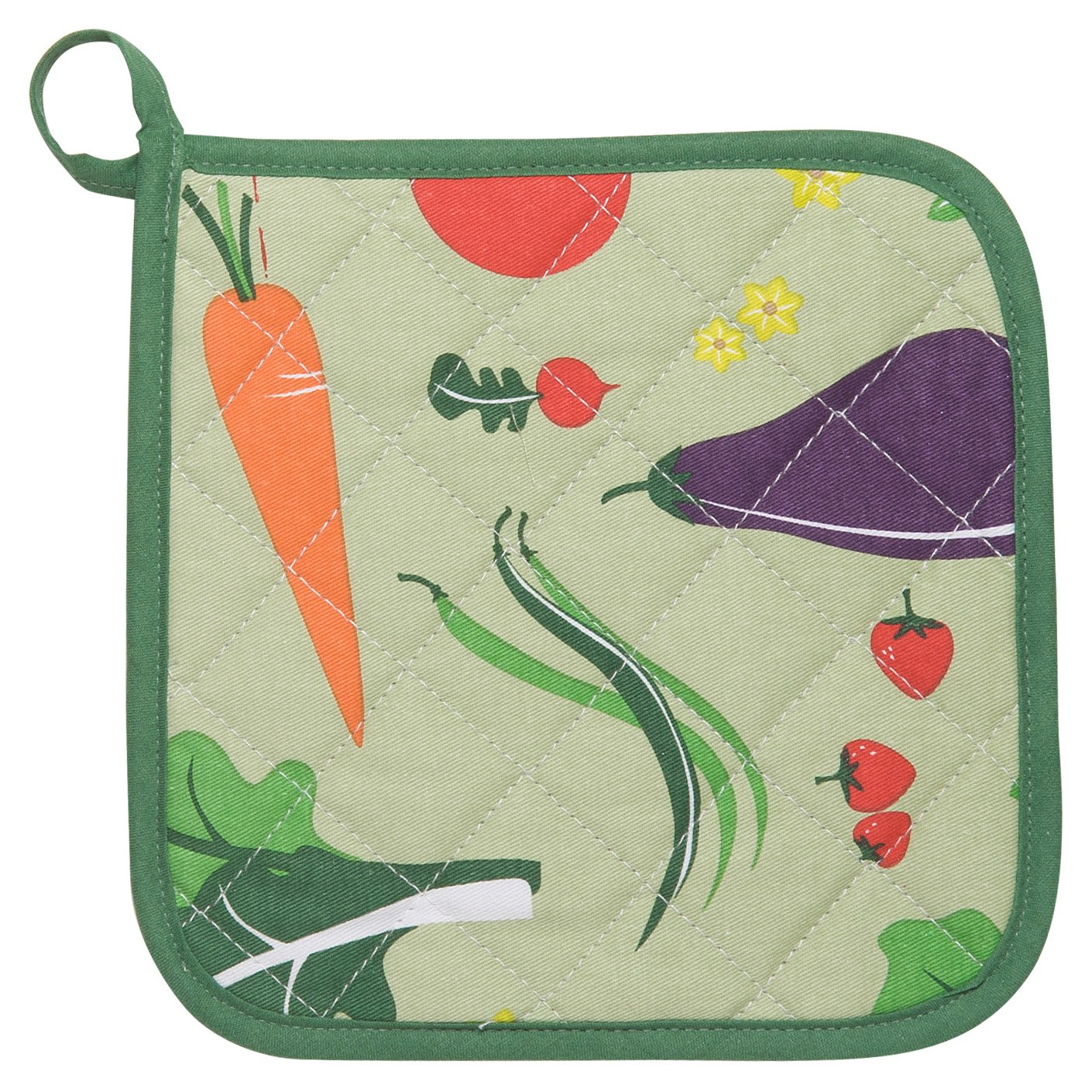 Now Designs Set of 2, Kitchen Style Potholders, Garden Veggies A01824aa