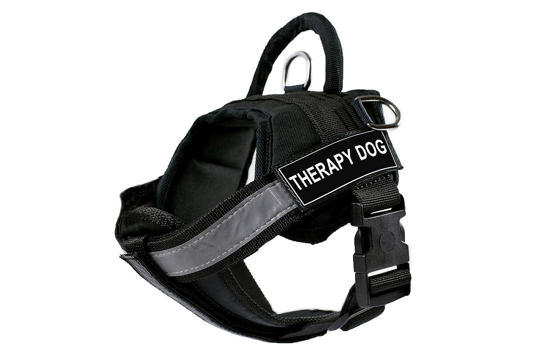 Dean & Tyler DT Works Imbracatura con Imbottito Riflettente pettorale, Terapia Dog, Nero, Small – Fits Girth Dimensione  63,5 cm a 86,4 cm