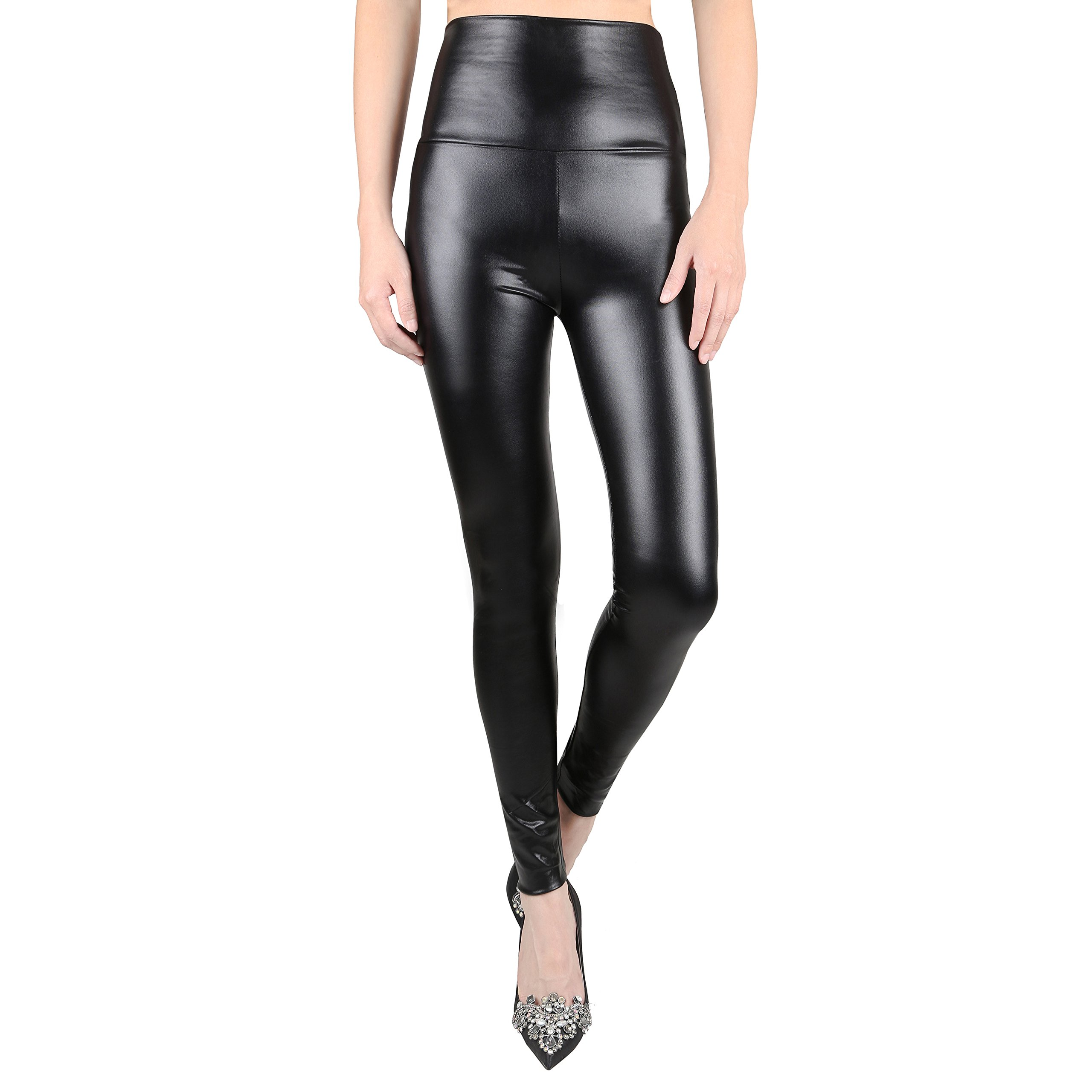 Sexy Faux Leather High Waisted Leggings (L  (US 12-14), shiny black)