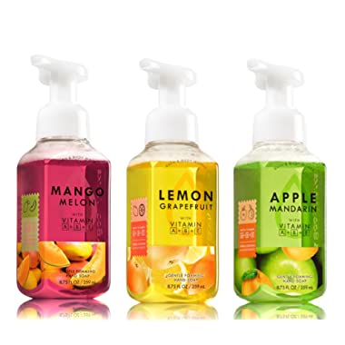 Bath and Body Works Gentle Foaming Hand Soap Fruit Trio - Mango Melon + Lemon Grapefruit + Apple Mandarin - Set of 3 Hand Soaps 8.75 oz each