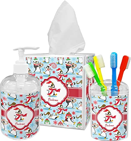 Amazon Com Rnk Shops Christmas Penguins Bathroom Accessories Set