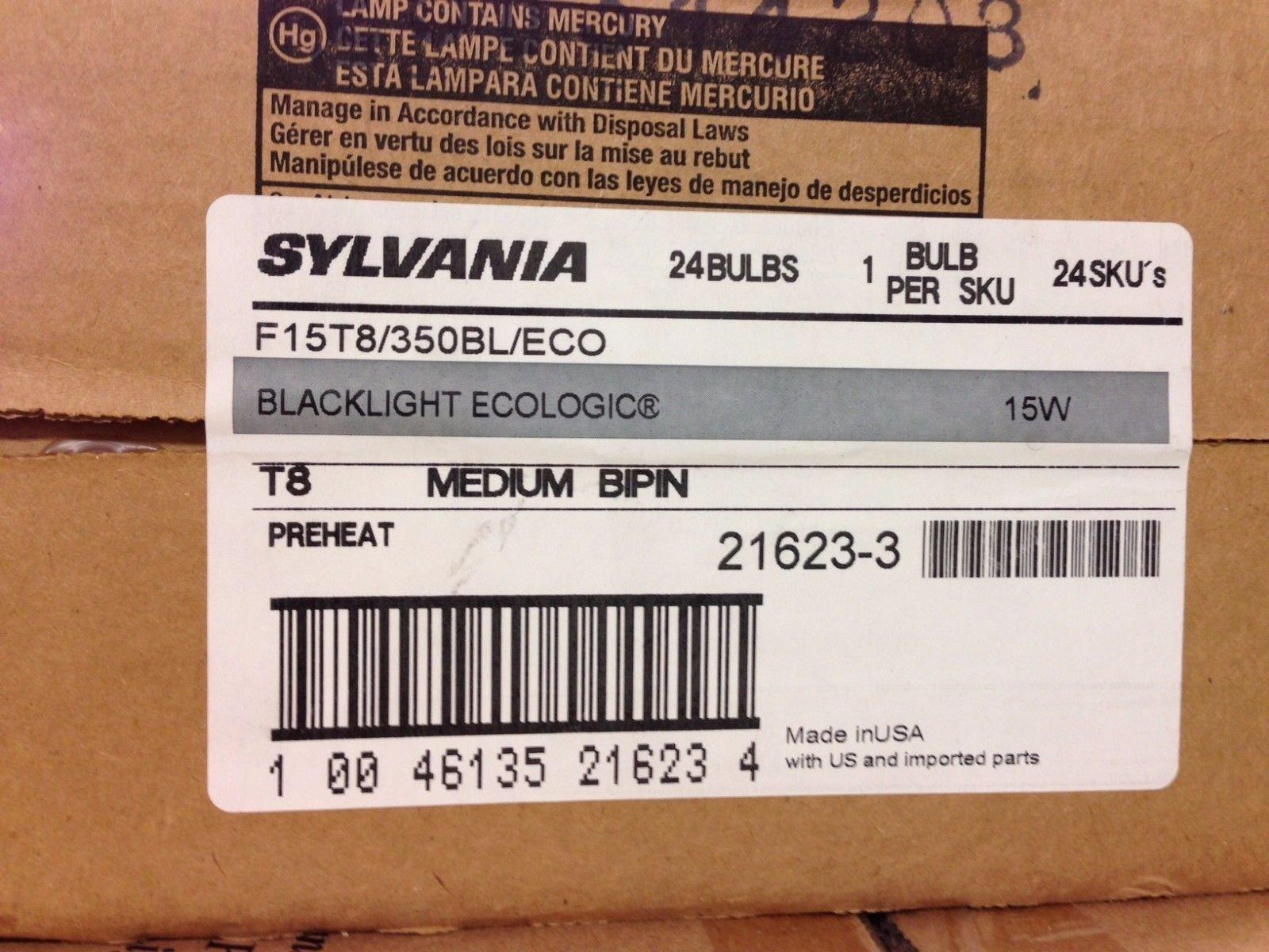 24 PIECES SYLVANIA F15T8/350BL/ECO 21623 15W T8 MEDIUM BI-PIN BLACK LIGHT