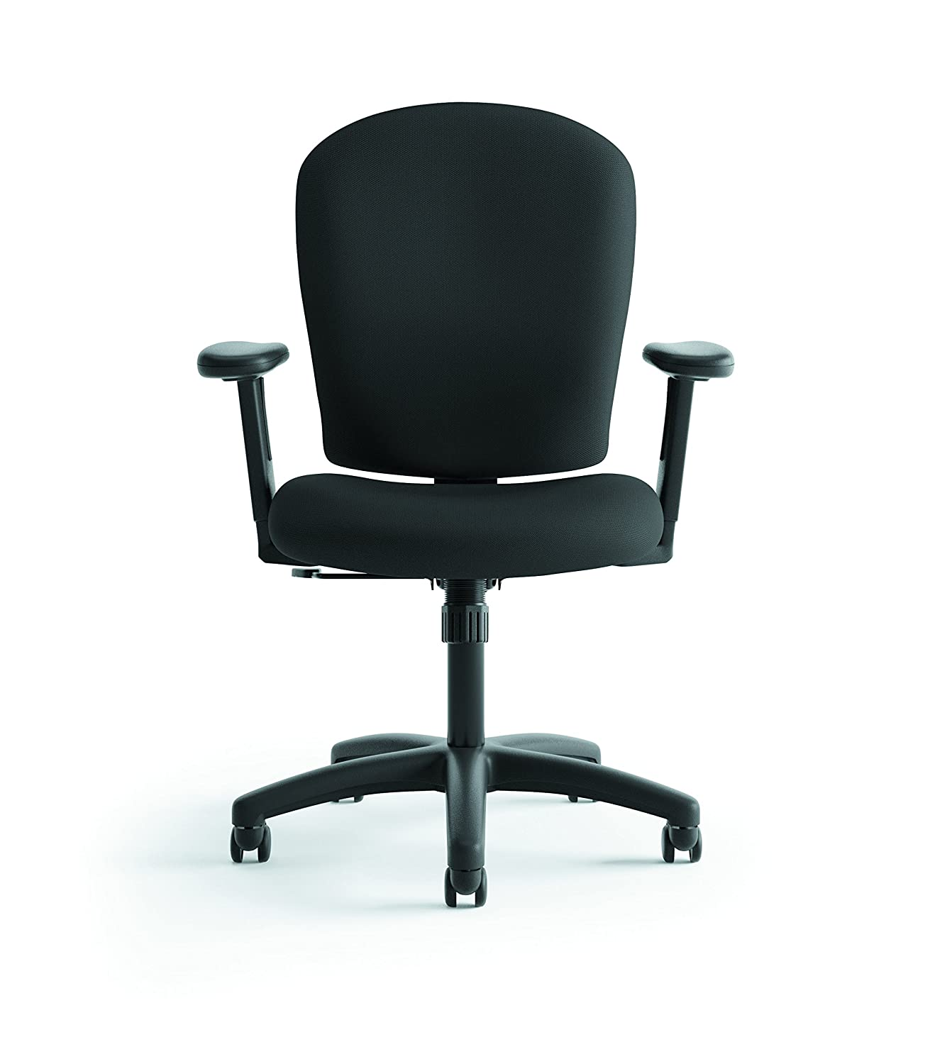 basyx by HON Mid Back Task Chair - Fabric Computer Chair with Arms for Office Desk - Black (HVL220)