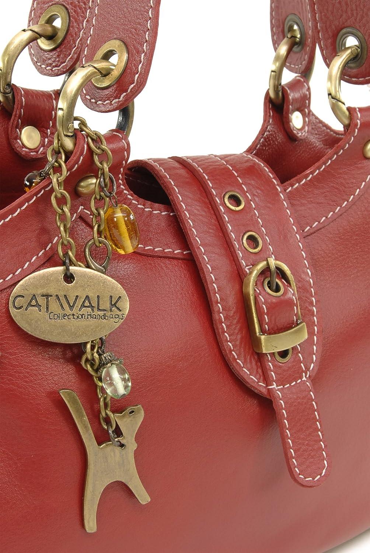 Catwalk Collection Handbags - Vera Pelle - Borsa a Tracolla/Borse a Mano/Spalla/Tracolla Regolabile e Rimovibile - Con Ciondolo a Forma di Gatto - Nicole Rosso