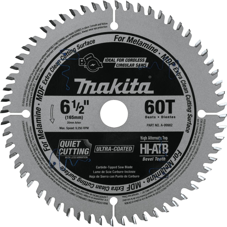 Makita A-99982 6-1/2'' 60T (ATB) Carbide-Tipped Cordless Plunge Saw Blade