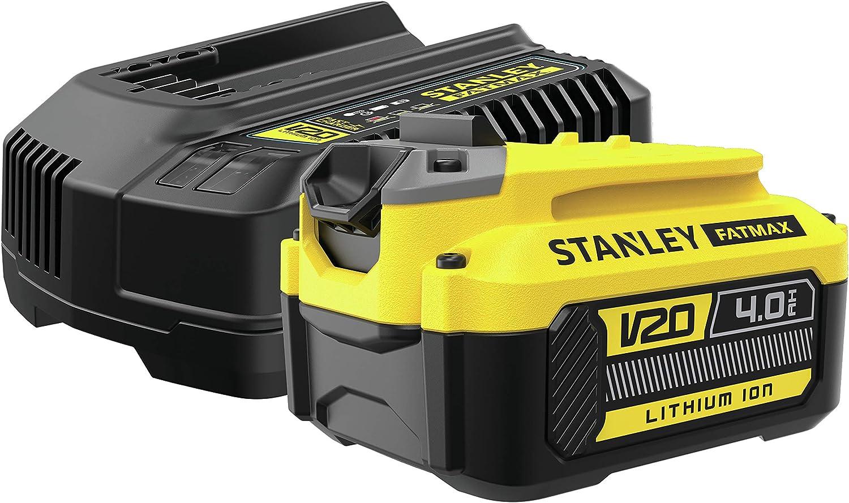 STANLEY Fatmax SFMCB14M1 QW Paquete de 1 bater/ía V20 li-ion 18V 4AH y cargador V20 li-ion 18V 2A