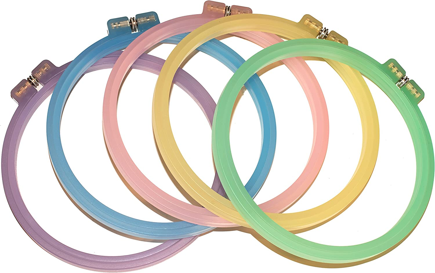 Celley 5 Pieces Embroidery Hoops Set 5 Pastel Color Collection 6 Inch Cross Stitch Hoop Rings