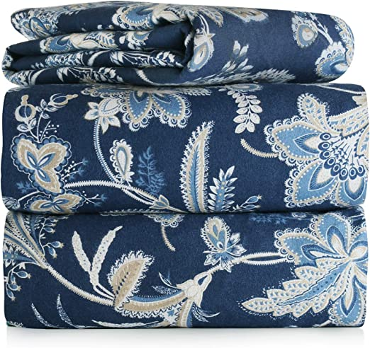 Amazon Com Piece 100 Soft Flannel Cotton Bed Sheet Set Queen King Size Patterned Bedding Covers 1 Flat Sheet 1 Fitted Sheet 2 Pillow Cases Fade Resistant Designs Blue Jacobean Queen Home Kitchen