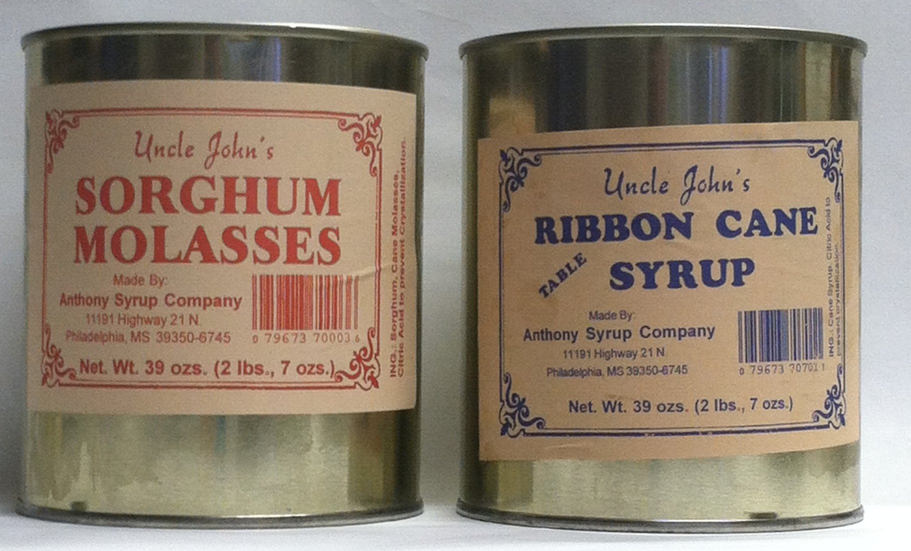 Uncle Johns Ribbon Cane Table Syrup and Sorghum Molasses Sampler in Metal Cans 30 Fl OZS 2 Lb 7 OZS