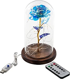 Snowkingdom Beauty and The Beast Rose Kit, Iridescent Blue Sheen Rose with Led Light in Glass Dome on Wooden Base for Home Décor Birthday Party Wedding Anniversary