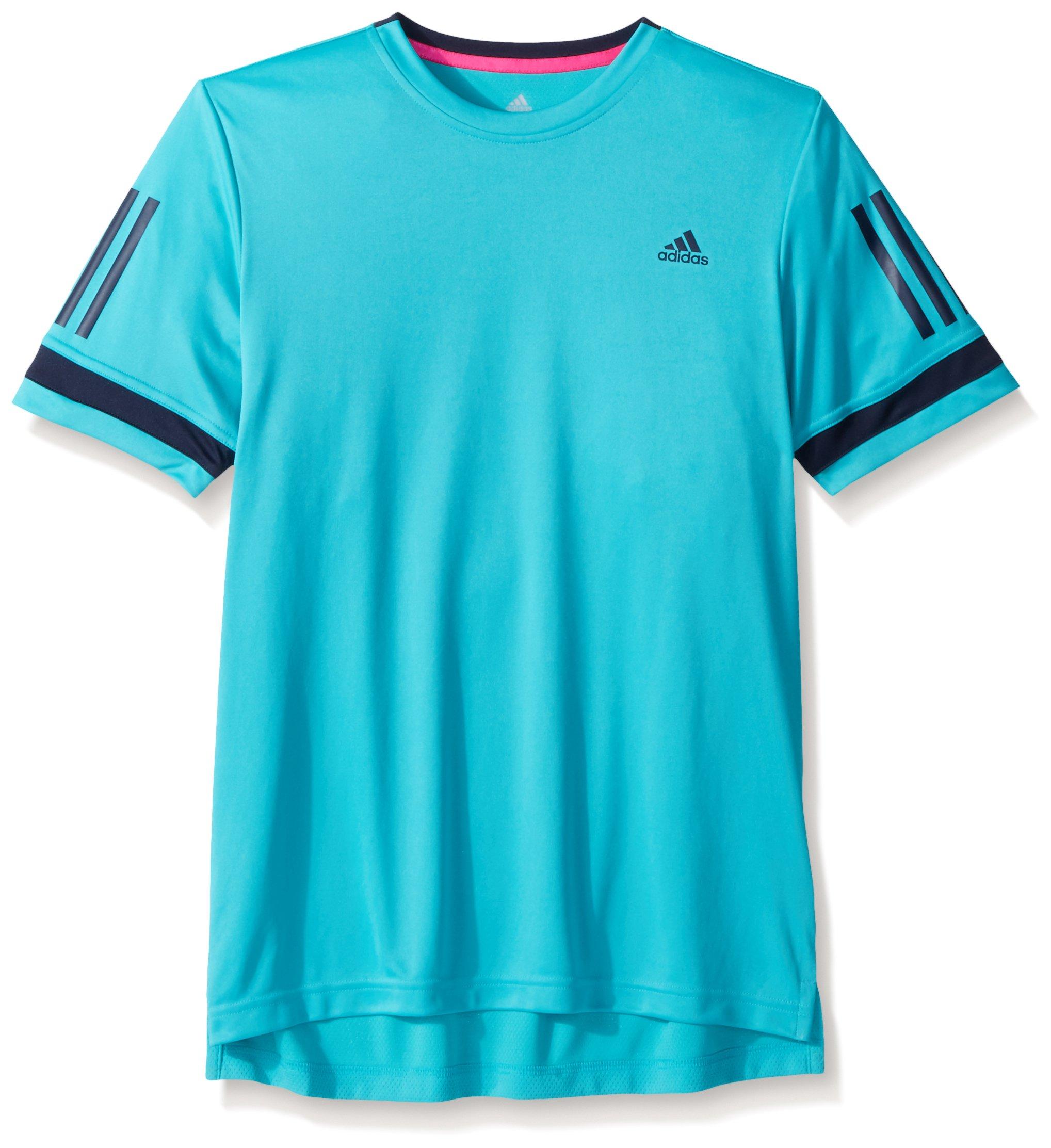 adidas Tennis Club 3 Stripes Tee, Hi-Res Aqua, X-Large