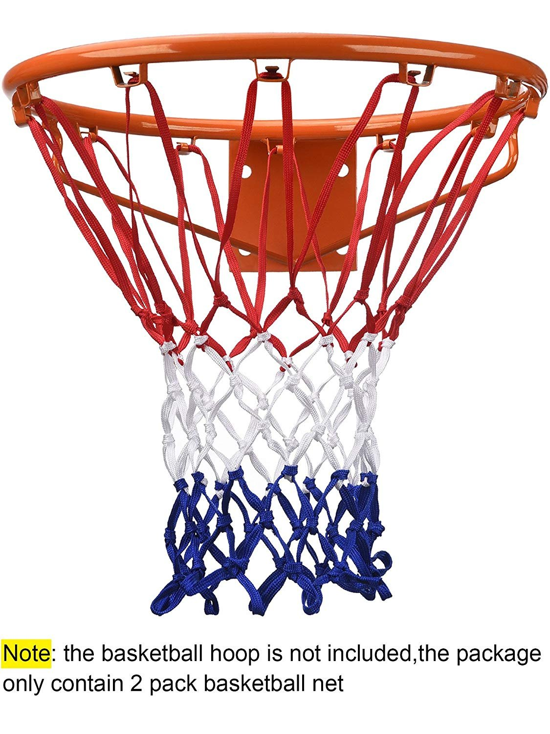 JHR-EU Basketball Basket Net Ring,Hang Ring Basketball Net Standard Strong and Durable Nylon Braided Multicolor Basketball Net for Outdoors or Indoors Sports 2 Pcs