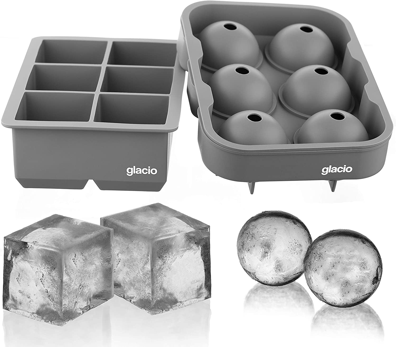 glacio Ice Cube Trays Silicone Combo Ice Molds