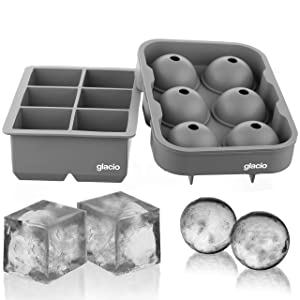 glacio Ice Cube Trays Silicone Combo Ice Molds (Gray) - Set of 2, Sphere Ice Ball Maker with Lid & Large Square Molds, Reusable and BPA Free