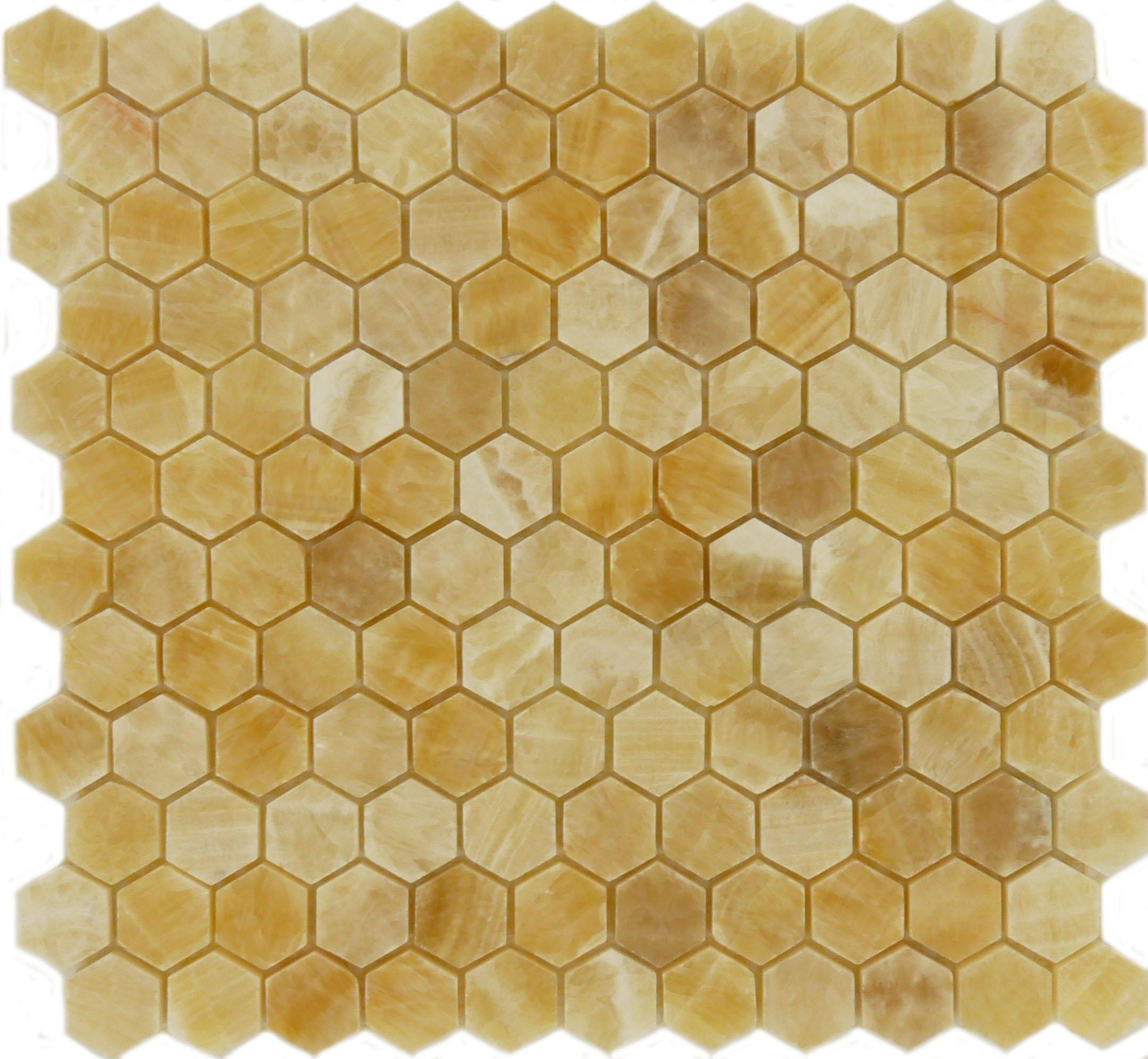 Wallandtile Honey Onyx Hexagon Interlocking Polished Mosaic Tile, 12''x12'', Set of 10