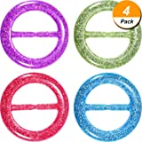 Hestya 4 Pieces 80s Party Tee Shirt Clips Plastic Fashion T Shirt Scarf Clip Ring with Assorted Colors