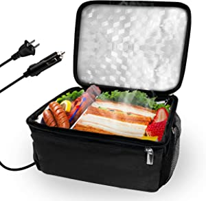 Portable Oven, Heated lunch box Food Warming Tote(12V and 110V Dual Use) Personal Portable Oven Mini Electric Lunch Box for Office, Travel, Potlucks, and Home Kitchen