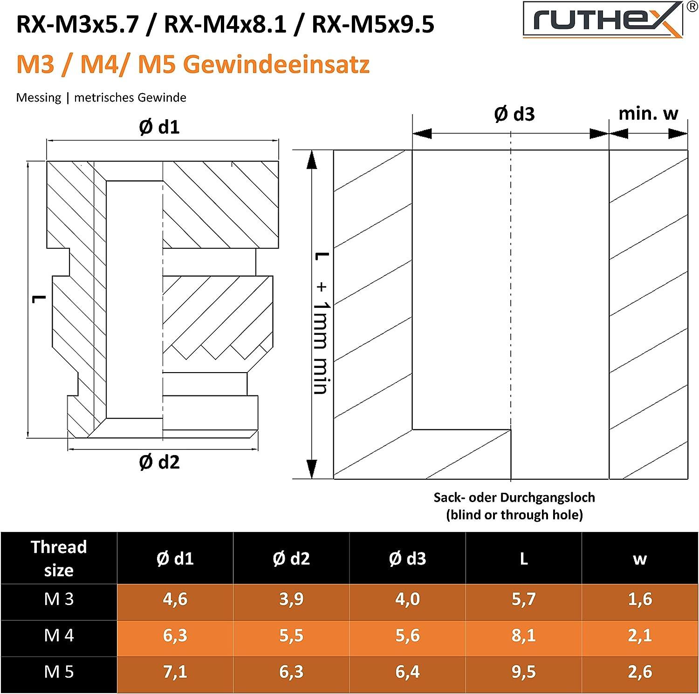 Tuerca a presi/ón para piezas de pl/ástico 20 piezas ruthex/® inserto roscado M8 por calor o ultrasonido en piezas de impresora 3D | RX-M8x12,7 Casquillos roscados de lat/ón