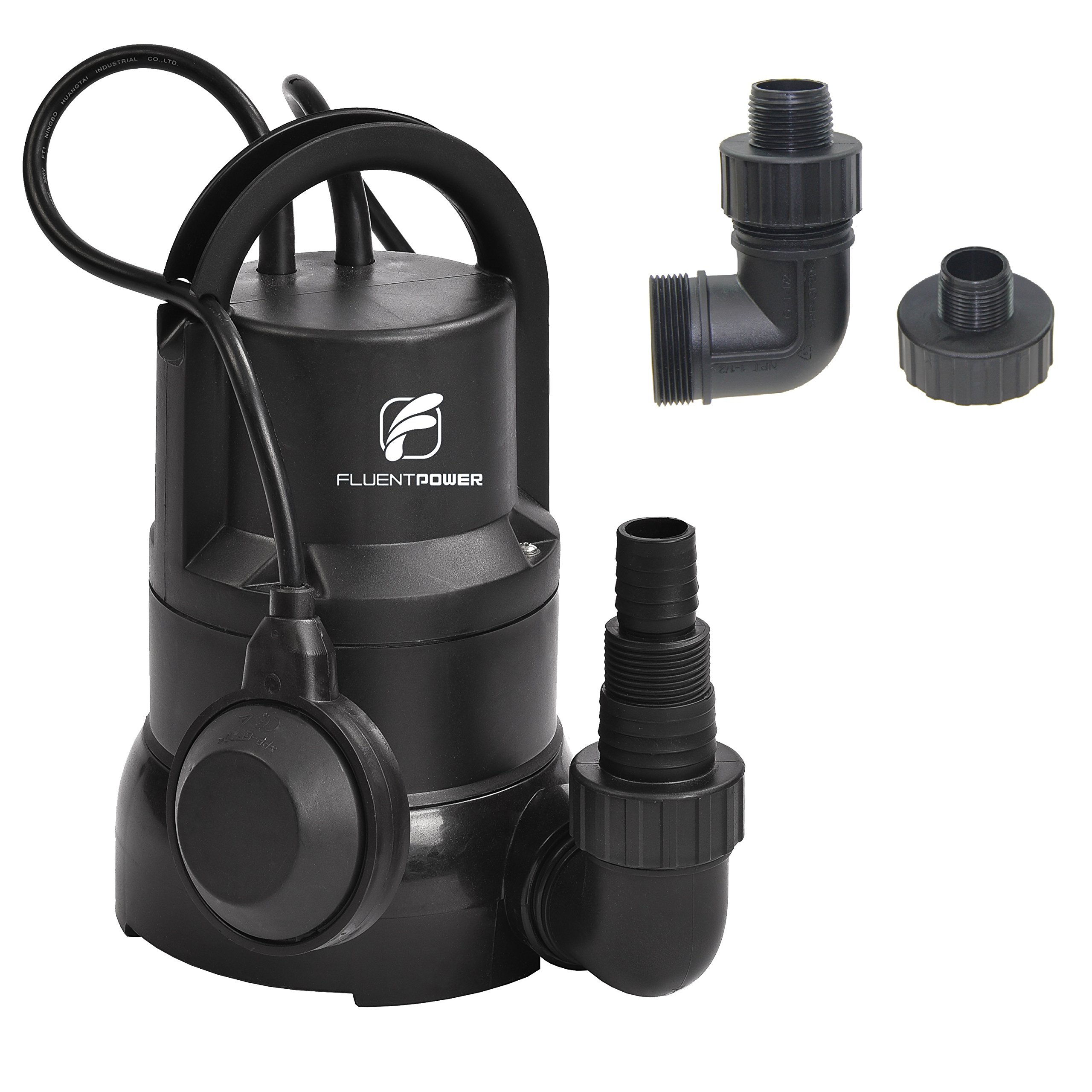FLUENT POWER 1/3 HP Electric Submersible Small Utility Drain Water Pump Side Discharge for Clean Water by FLUENT POWER (Image #1)