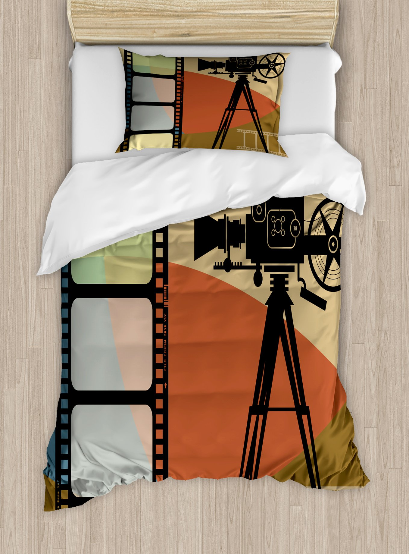 Ambesonne Movie Theater Twin Size Duvet Cover Set, Abstract Retro Style Colorful Composition with Projection and Strip Border, Decorative 2 Piece Bedding Set with 1 Pillow Sham, Multicolor